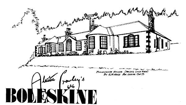 Sketch of Boleskine House and title, 'Aleister Crowley's Boleskine'